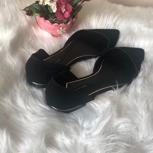 Zara Basic Suede Dorsay Pointed Flat Shoe